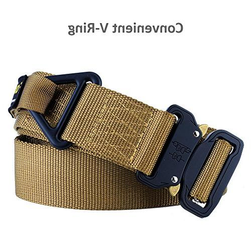 Fairwin Rigger's Belt, Military Webbing Nylon Web Belt with Heavy-Duty Quick-Release and