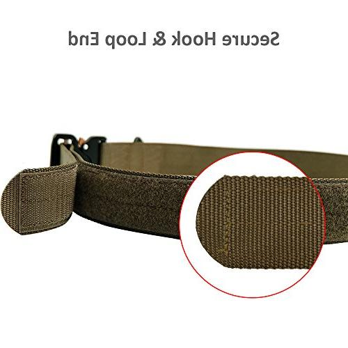 Military Webbing Riggers Nylon Web Belt Heavy-Duty Quick-Release Metal and D-Ring.