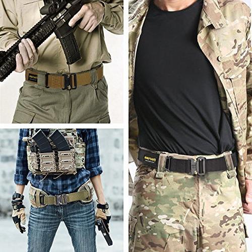 Fairwin Tactical Belt, Military Nylon Heavy-Duty and
