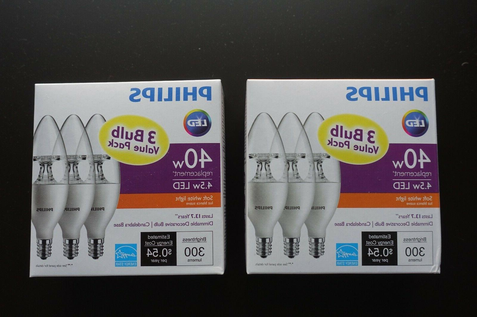 Two 3-pack Philips 40W Equivalent Soft White B11/E12 Candela