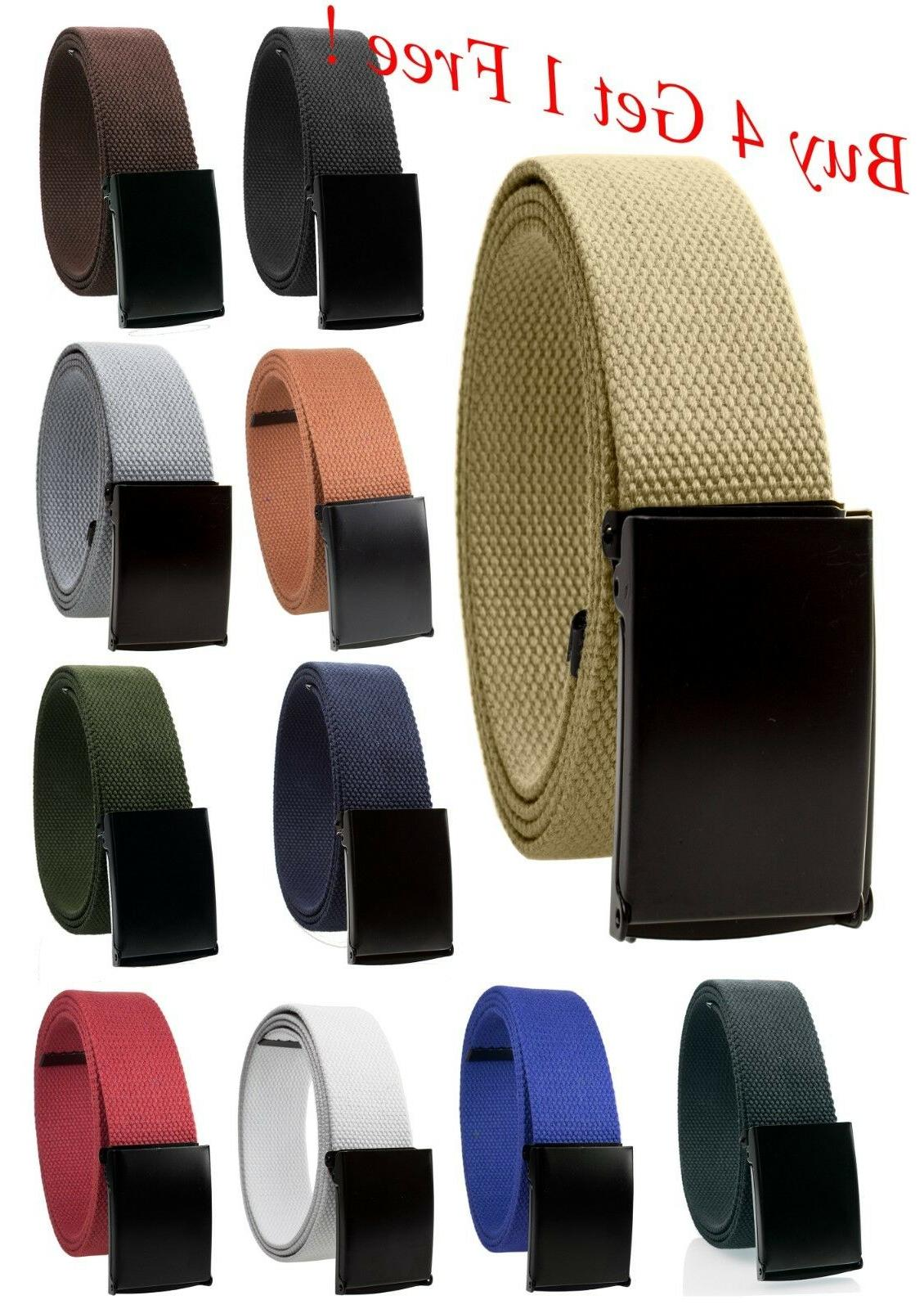 Unisex Fully Adjustable Canvas Web Belt with Black Flip Top