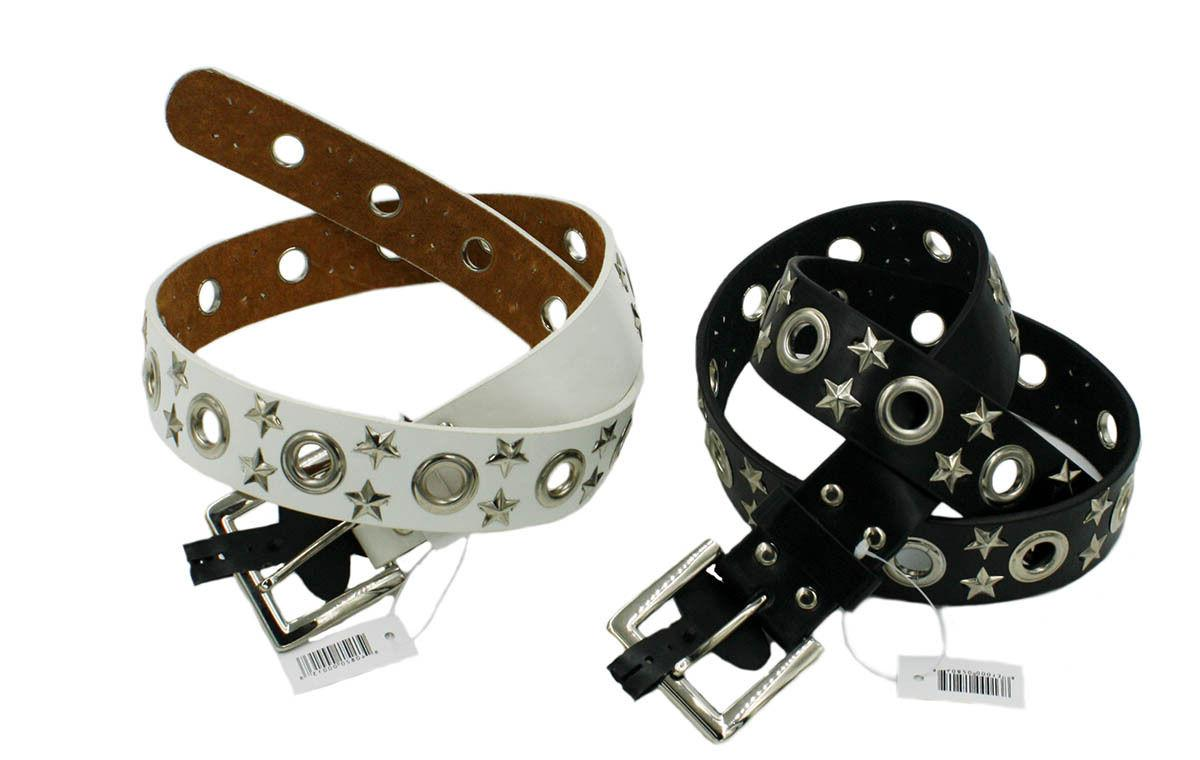 Unisex Row Grommet Bonded Leather Belt with Metal Buckle Sty