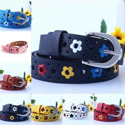 US Candy Color Flower Belt Buckle PU Leather Kids Toddler Wa