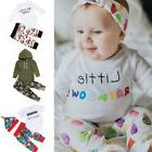 US Stock Newborn Baby Girls Romper Jumpsuit Bodysuit+Long Pa