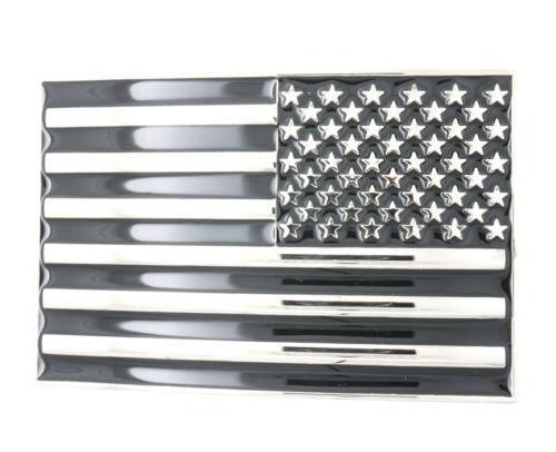 USA U.S. American Flag Patriotic Black/Silver Metal Belt Buc