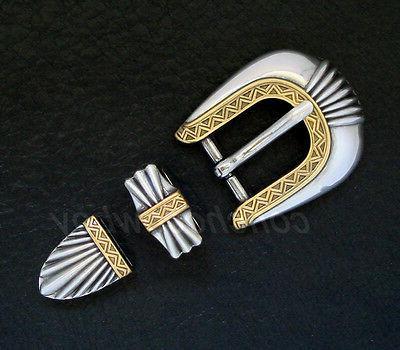 western antique gold belt buckle set fits