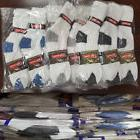60 Pairs Men Crew Socks White W/Color Solid Sports Casual Co
