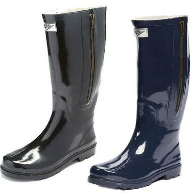 Women Rubber Rain Boots w/ Decorative Side Zipper Closure in