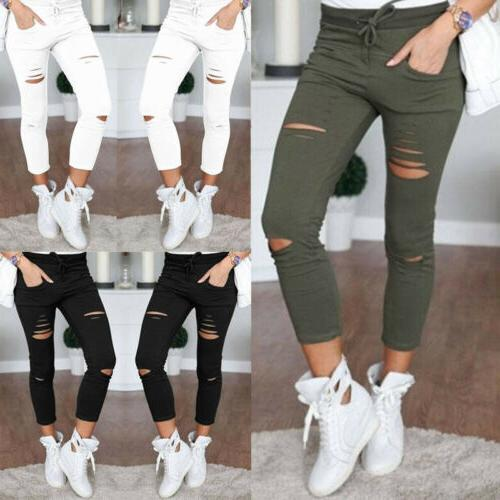 Women Skinny Ripped Holes Jeans Pants High Waist Stretch Sli