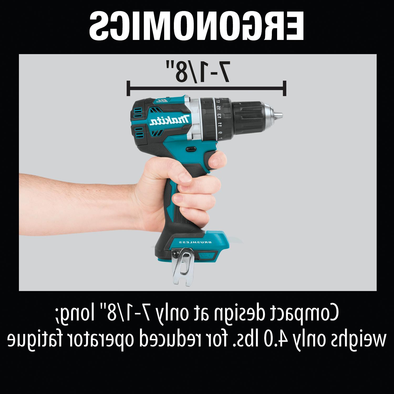 "Makita Lithium-Ion Brushless 1/2"" Hammer Driver Drill"