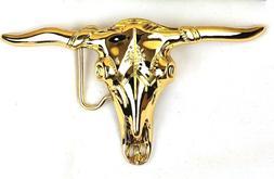 Large Gold Bull Skull Belt Buckle Big High Polished Metal We