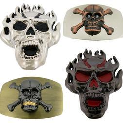 Large Men Skull Skeleton Belt Buckle Tattoo Goth Women Triba