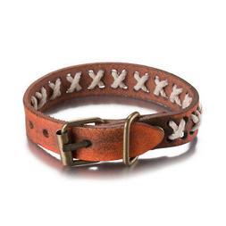 Leather Bracelet  Brown 9 Inches 14MM Belt buckle  L464