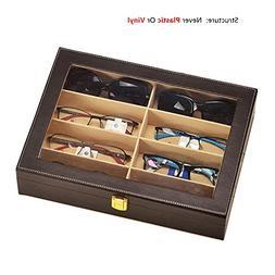 8 Slot Leather Sunglasses Display Case Eyeglasses Organizer