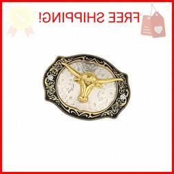 Long Horn Bull Western Belt Buckle Golden Rodeo Texas Cowboy