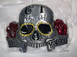 Lucky 13 Large Skeleton Skull Head Large Eyes Belt Buckle 3