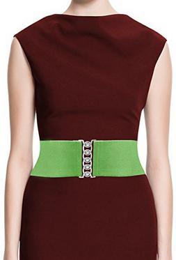 LUNA Fashion 4 Inch Elastic Cinch Belt - Solid - Green