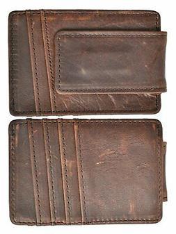 Magnetic Money Clip RFID Front Pocket Wallet Men's Leather S