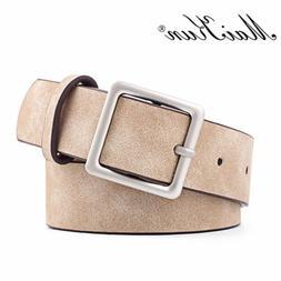 MaiKun Women Leather Belts for Jeans Belt Buckle Pin Metal S