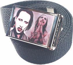 Marilyn Manson Belt Buckle Bottle Opener Adjustable Web Belt