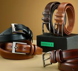Mio Marino Men's Genuine Leather Dress Belt with Single Pron