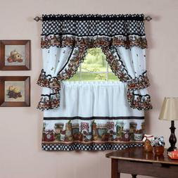 naturally home Mason Jars Kitchen Curtain Cottage Set, Tiers