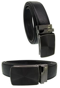 Men Automatic Ratchet Click Lock Belt Buckle Genuine Leather