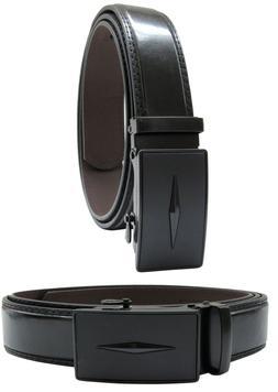 Men Automatic Ratchet Click Lock Black Belt Buckle Genuine L