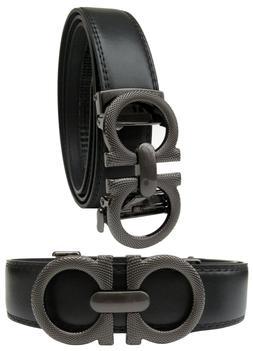 Men Automatic Ratchet Click Lock Leather Belt Italian Design