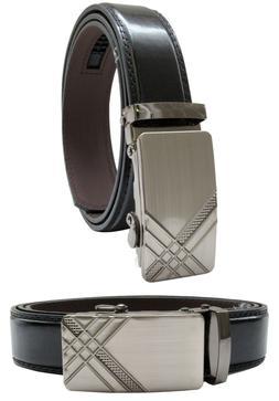 Men Automatic Ratchet Click Lock Silver Belt Buckle Genuine