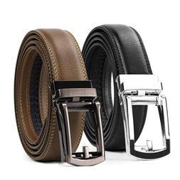WERFORU Men Belt 2 Pack Leather Ratchet Dress Belt for Men w