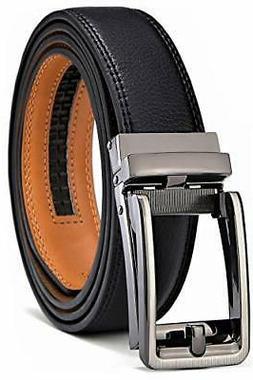 BULLIANT Men Belt, Leather Ratchet Belt Black for Men with E