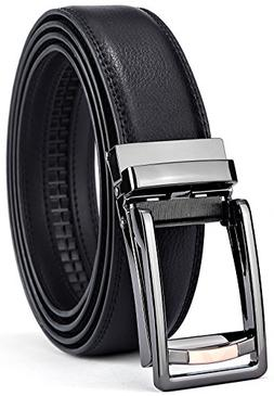 BULLIANT Men Belt, Leather Ratchet Belt Black for Men with E