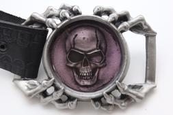 Men Belt Buckle Silver Metal Eagle Claw Skeleton Skull Purpl