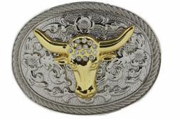 Men Big Belt Buckle Western Cowboy Bull Long Texas Horn Cow