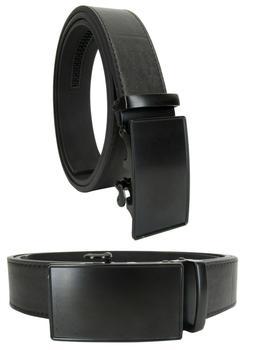 Men Genuine Leather Automatic Ratchet Click Lock Matte Black