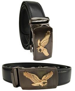 Men Black Genuine Leather Automatic Ratchet Click Lock Buckl