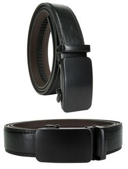 Men Genuine Leather Automatic Ratchet Click Lock Matte Flat