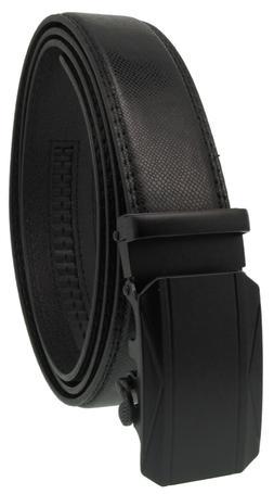 Men Leather Automatic Ratchet Click Lock Matte Black Buckle