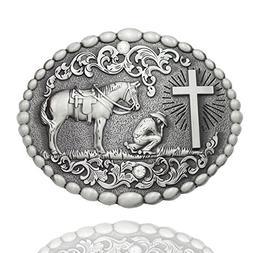 Q&Q Fashion Men Retro Silver Western Cowboy Prayer Cross Hor