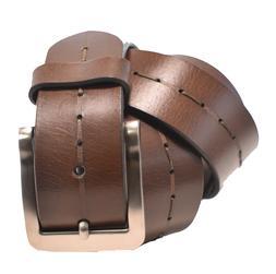 Men's 100% Genuine Leather Belt w/ Polished Nickel Belt Buck