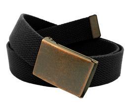 Men's Antique Copper Flip Top Belt Buckle with Canvas Web Be