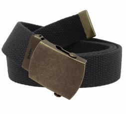 Men's Antique Gold Slider Military Belt Buckle with Canvas W