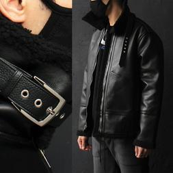 Men's Belt Buckle Collar Shearling Fluffy Faux Leather Jacke