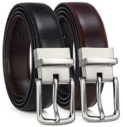 Men's Belt,Bulliant Leather Reversible Belt for Men With Sin