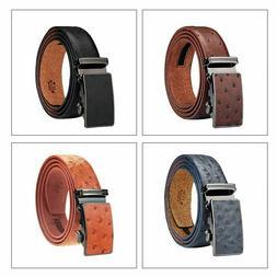 Men's Belt Ratchet Leather Dress Belt with Automatic Solid B