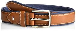 Tommy Hilfiger Men's Belts Fabric With Leather & Silver Belt