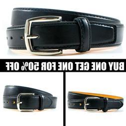 Men's Black Genuine Leather Causal Jean Dress Buckle Belt St