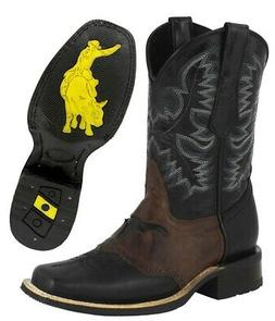 Men's Black Saddle Western Cowboy Boots Bull Inlay Rubber So