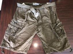 Men's Blu Rock Cargo Shorts  - Dark Olive Green W/ Belt & Bu